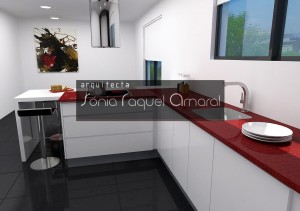 """3D kitchen design - """"U"""" Configuration, with balcony dining, lacquered in gloss white and topped with red Silestone """"Rojo Eros""""."""