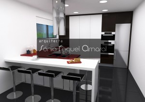 3D kitchen design - The kitchen also features columns with wenge foil and gloss white lacquer.
