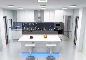 """3D kitchen design - In line configuration with center island, lacquered in glossy white, white Silestone worktop """"Zeus Extreme"""" and blue LED lighting."""