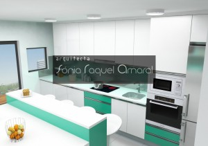 """3D kitchen design - In line configuration with center island, lacquered in glossy white and green drawer fronts, whith Silestone worktop """"Zeus Extreme"""" and green LED lighting."""