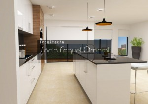 3D kitchen project - The island serves as the background plan, also serving as snack area.