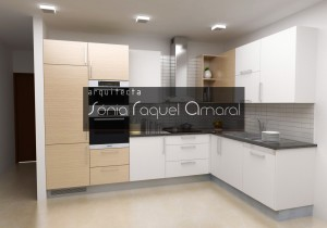 """3D kitchen project - """"L"""" configuration, lacquered in glossy white with pre-composed and black granite Angola oak foil."""