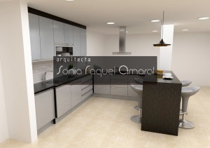 3D kitchen project - Configuration with peninsula, lacquered in black and glossy gray fronts with black Angola granite worktops.