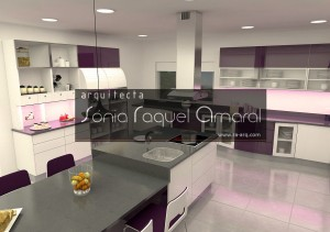 """3D kitchen design - """"L"""" configuration with center island and cupboard, lacquered in glossy white and aubergine, white Silestone worktop """"Zeus Extreme"""" and LED lighting."""