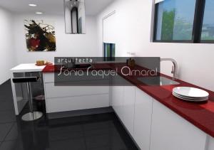 """Projeto de cozinha em 3D - Configuração em """"U"""", com balcão para refeições, lacada em branco brilho e com tampo Silestone vermelho """"Rojo Eros""""."""