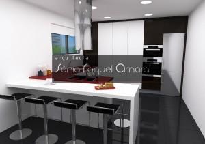 Projeto de cozinha em 3D - A cozinha apresenta também colunas com folha em wenge e lacado em branco brilho.