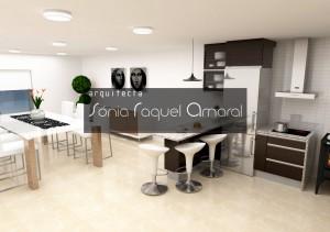 """Projeto de cozinha em 3D - Configuração em """"U"""", com balcão para refeições, com folha wenge e com tampos em granito cinza."""