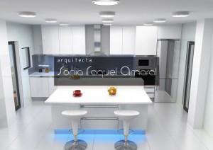 """Projeto de cozinha em 3D - Configuração em linha com ilha central, lacada em branco brilho, tampo Silestone branco """"Zeus Extreme"""" e iluminação Led azul."""