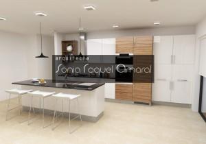 Projeto de cozinha em 3D - Configuração em linha com ilha central, lacada em branco brilho, com folha nogueira e com tampos em granito preto Zimbabwe.