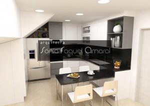 """Projecto de cozinha em 3D - Configuração em """"L"""", com mesa para refeições, lacada em branco e cinza brilho e tampos em granito preto Angola."""