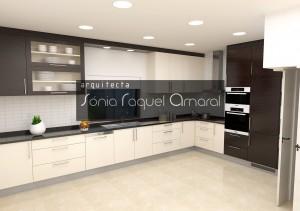 """Projeto de cozinha em 3D - Configuração em """"L"""", lacada em bege brilho, carvalho com velatura em castanho e tampo em granito preto Angola."""