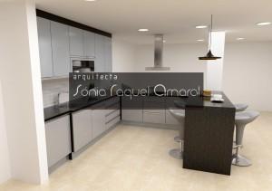 """Projeto de cozinha em 3D - Configuração em """"Península"""", lacada em preto e frentes em cinza brilho, com tampos em granito preto Angola."""