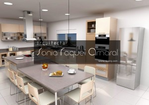 """Projeto de cozinha em 3D - Configuração em """"L"""" com ilha central e louceiro, lacada em bege brilho, com folha carvalho pré-composto e tampos em silestone """"Marengo""""."""