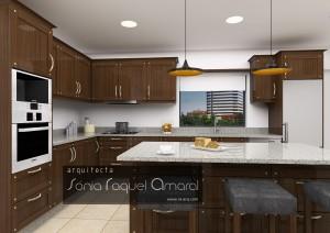 """Projeto de cozinha rústica em 3D - Configuração em """"L"""" com ilha central, em madeira de castanho escuro, com tampos em granito cinza."""